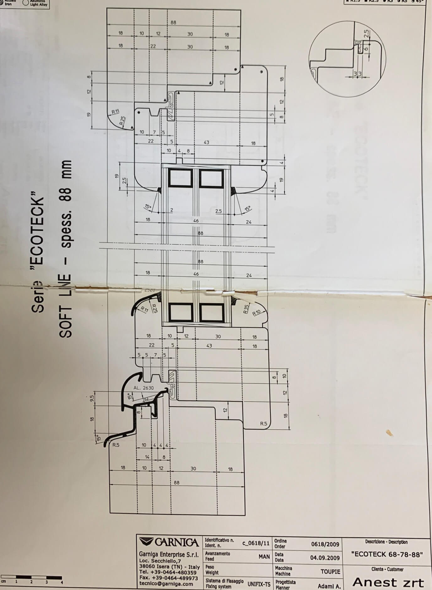 88mm-es profil metszete
