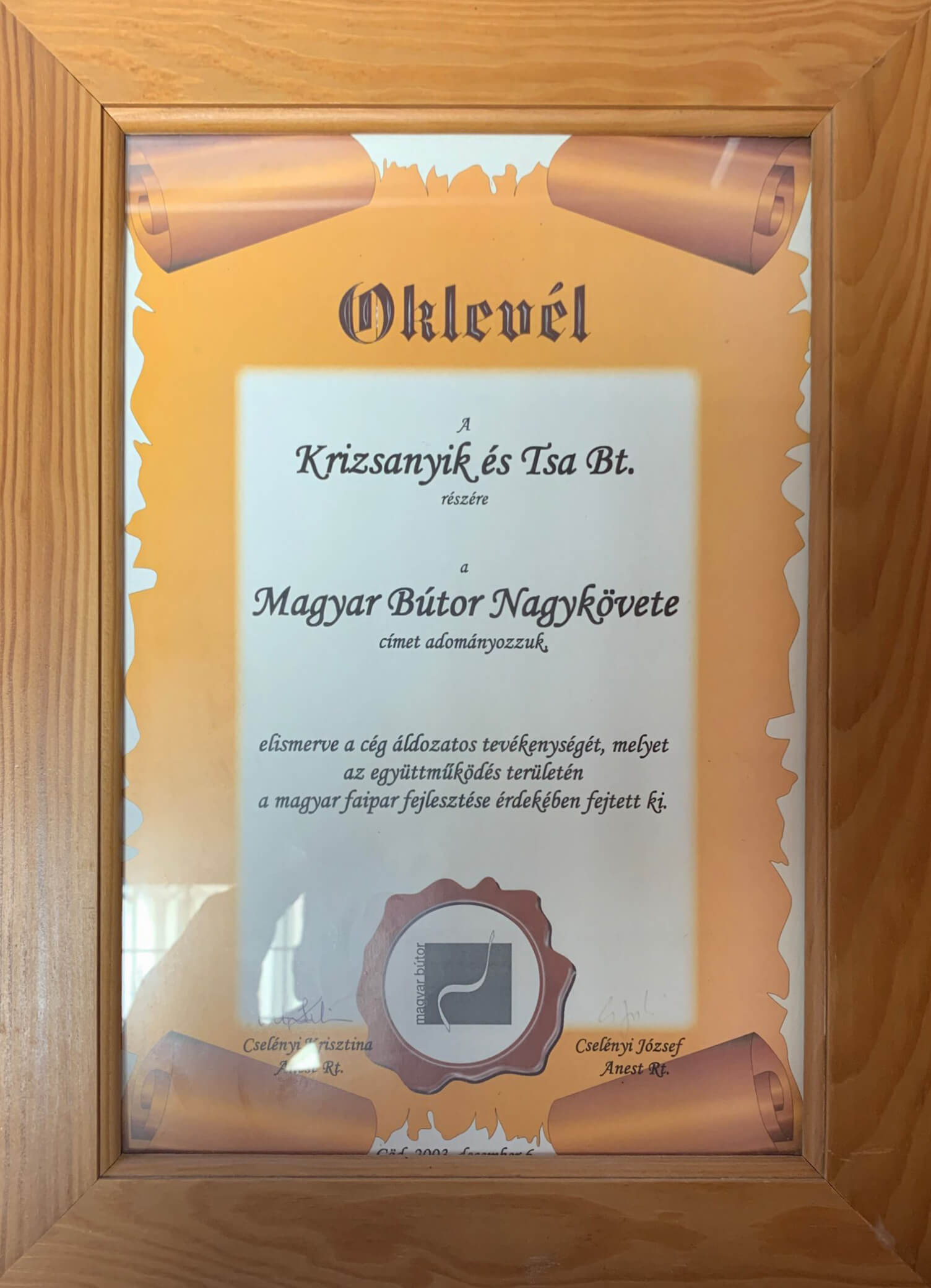 Oklevél - Magyar bútor nagykövete